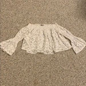 Crop white lace top